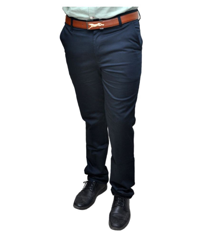 Novowels Blue Slim Pleated Trousers