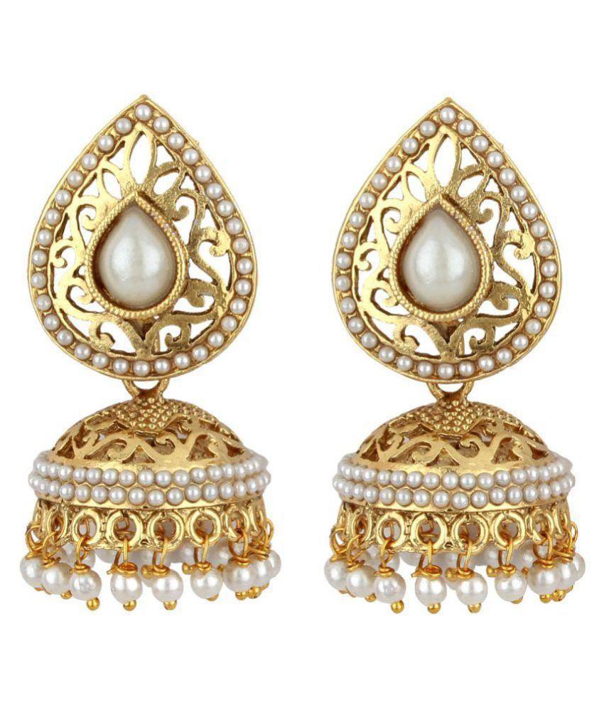 Jewels Guru Golden Alloy Jhumki Earrings