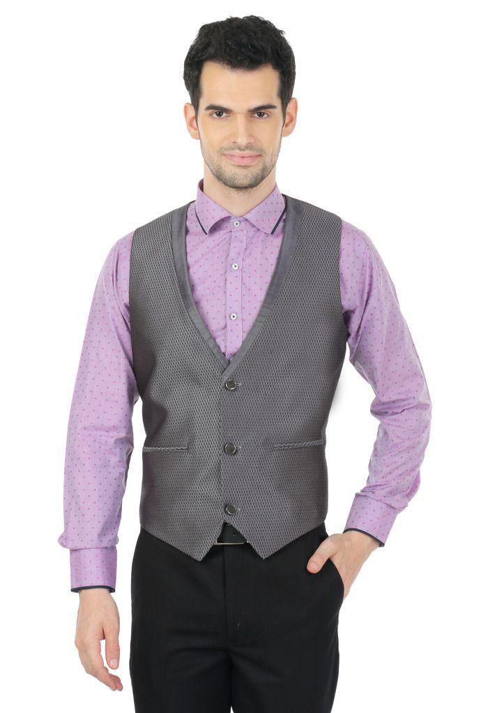 Zido Grey Self Design Party Waistcoats