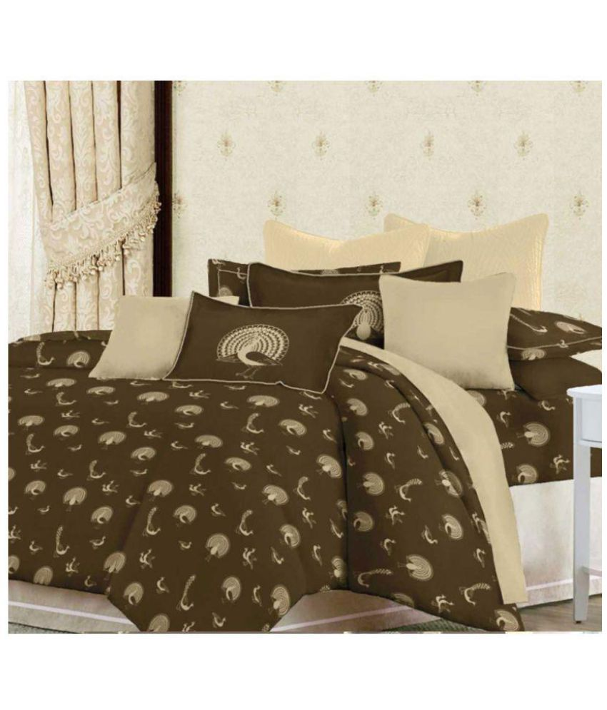 Bombay Dyeing King Cotton Brown Floral Bed Sheet Set Of 5