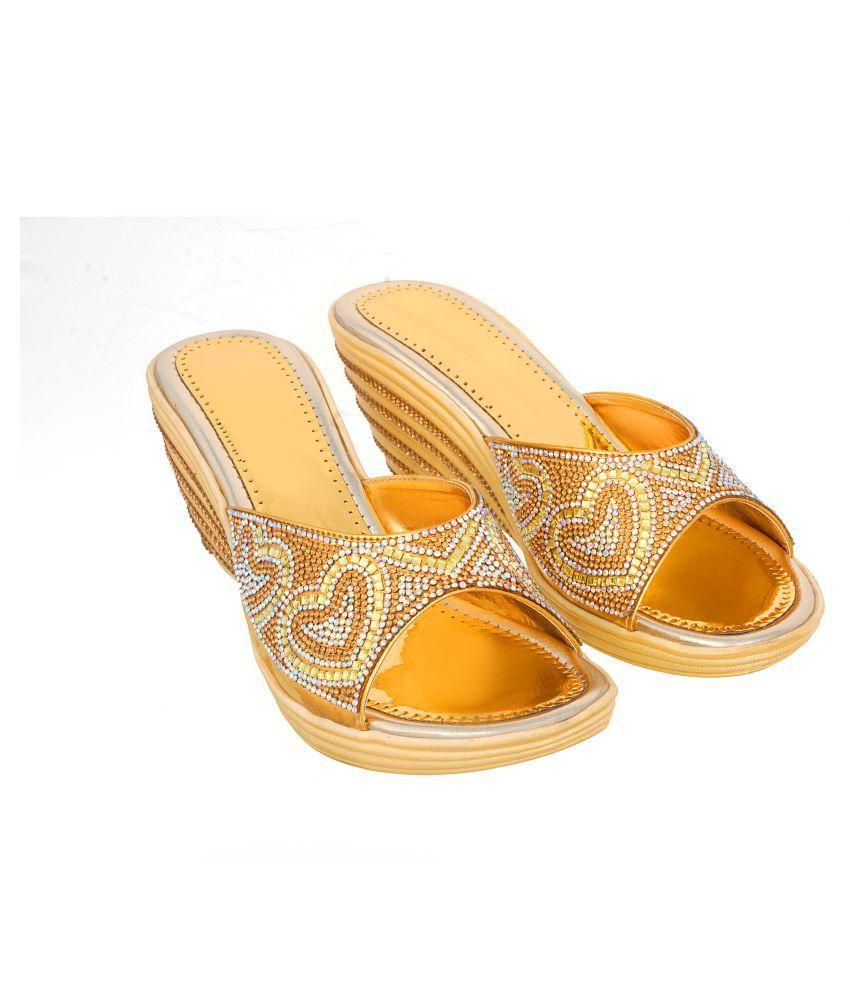 Zionk Gold Wedges Heels