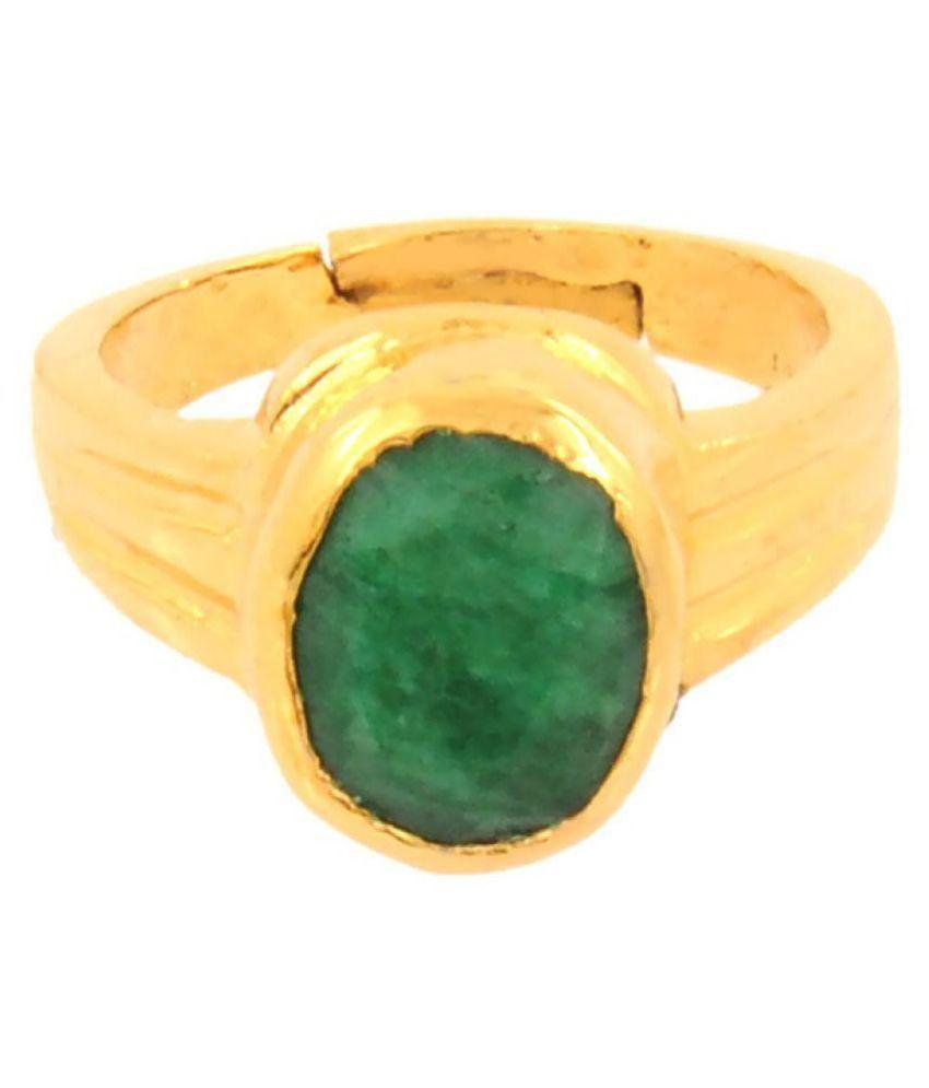 Aryan Gems 92.5 Platinum Emerald Ring