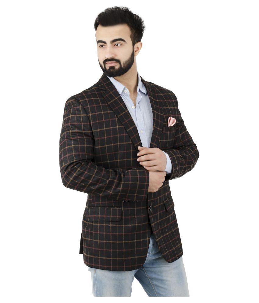 Lorenzini Designs Black Checks Casual Blazers