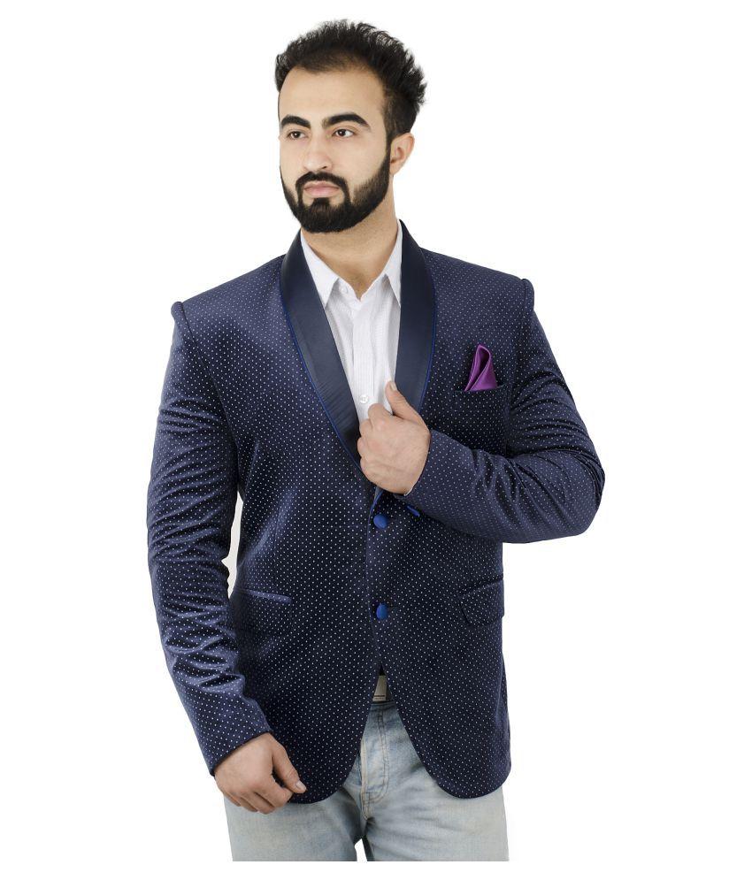 Lorenzini Designs Blue Self Design Casual Blazers