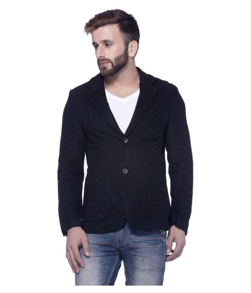 Tinted Black Solid Casual Blazers
