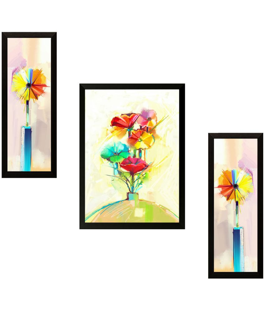 SAF Set of 3 Flowers Wood Painting With Frame Set of 3