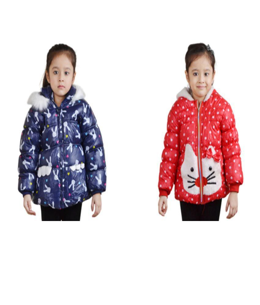 Crazeis Multicolour Nylon Quilted Jacket - Pack of 2
