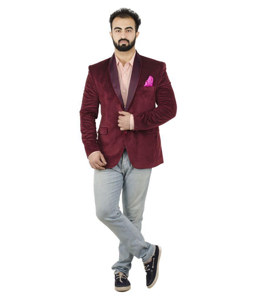 Lorenzini Designs Red Self Design Casual Blazers
