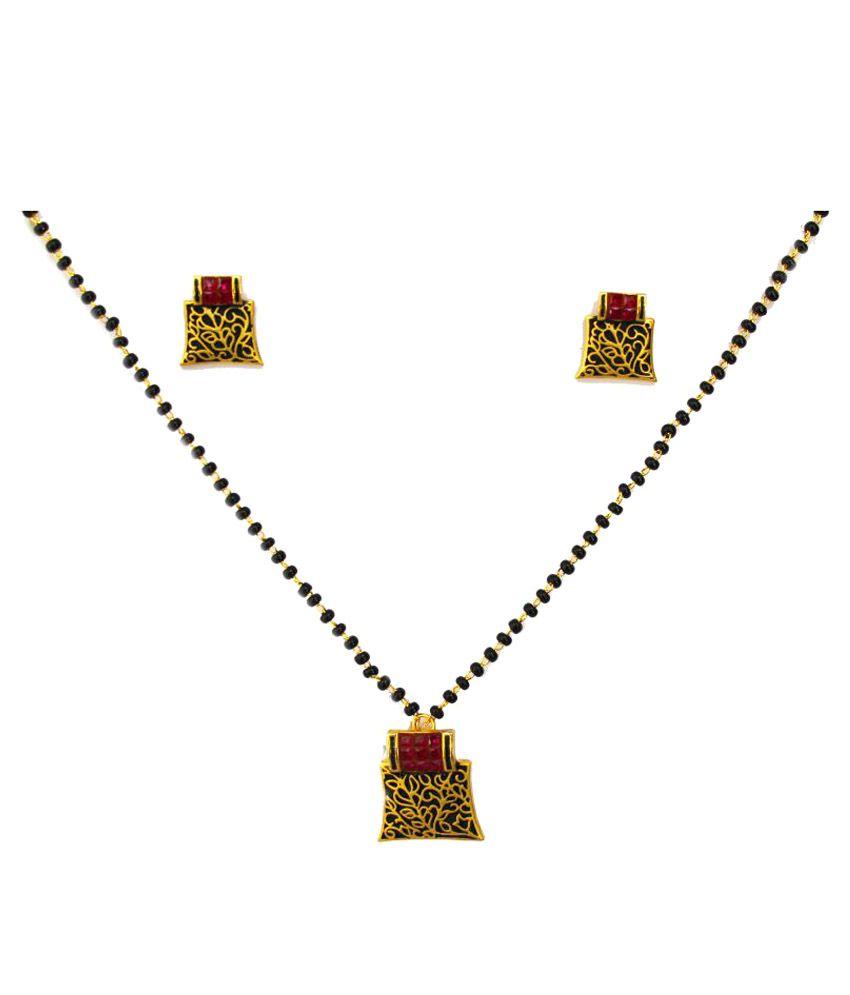 M K Art Jewellery Antique Mina Gold Plated Mangalsutra Set
