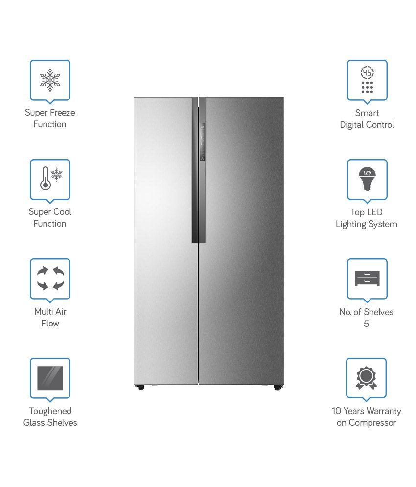 Top Ten Side By Side Refrigerators Haier 565 Ltr Hrf 618ss Side By Side Refrigerator Stainless