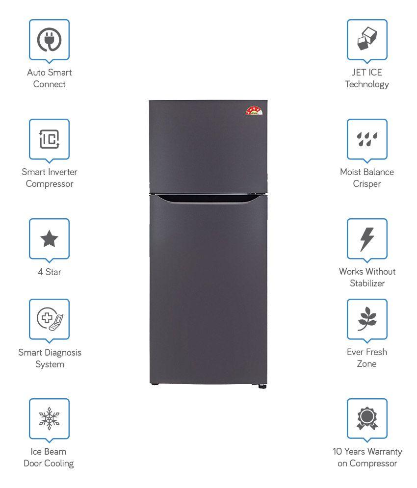 LG 260 LTR 4 Star GL-I292STNL Frost Free  Refrigerator - Titanium