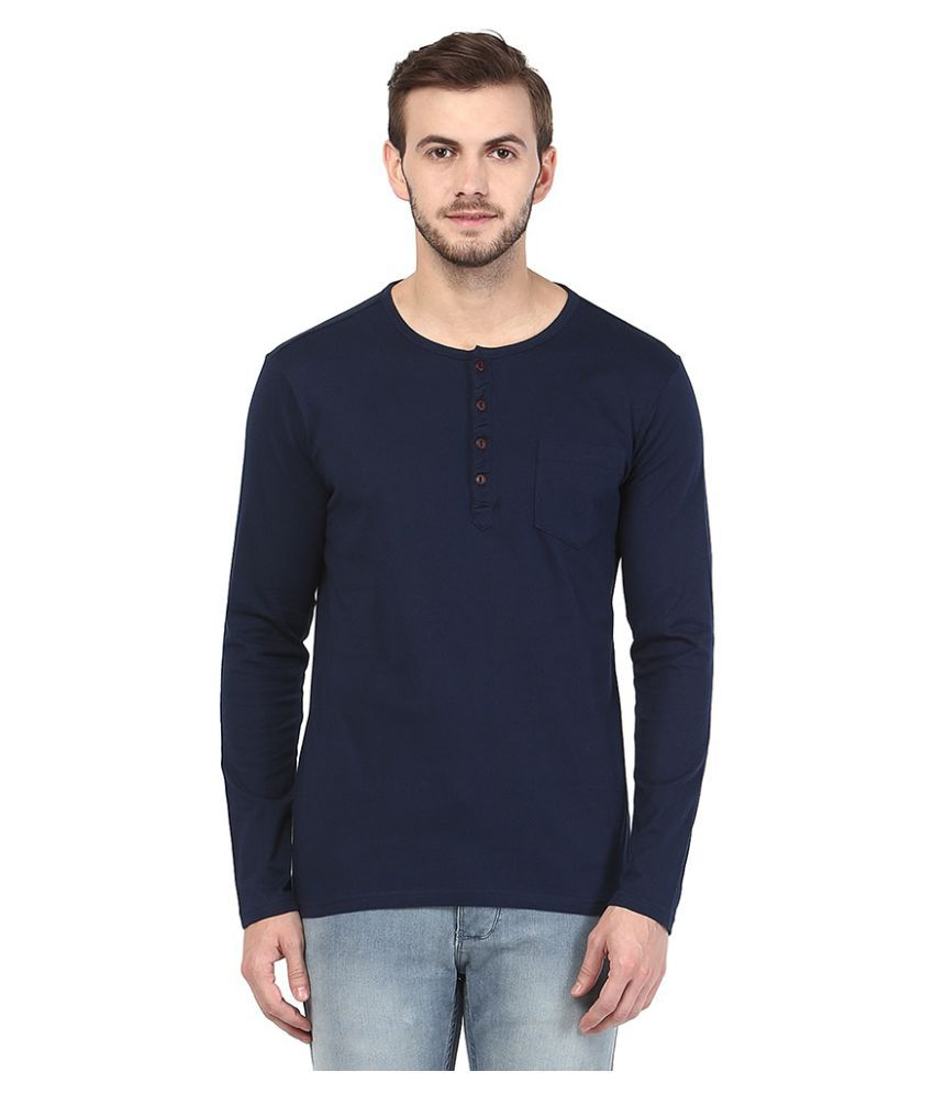 Urban Eagle By Pantaloons Navy Henley T-Shirt