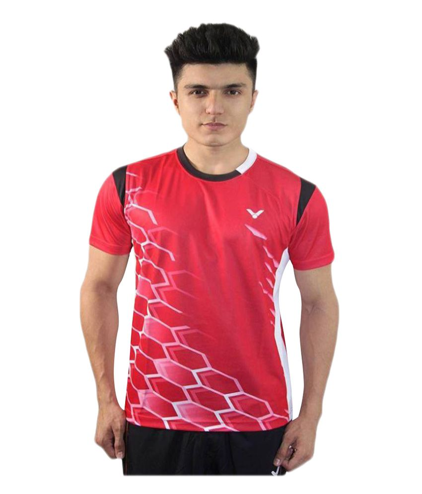 Victor Red Polyester T-Shirt