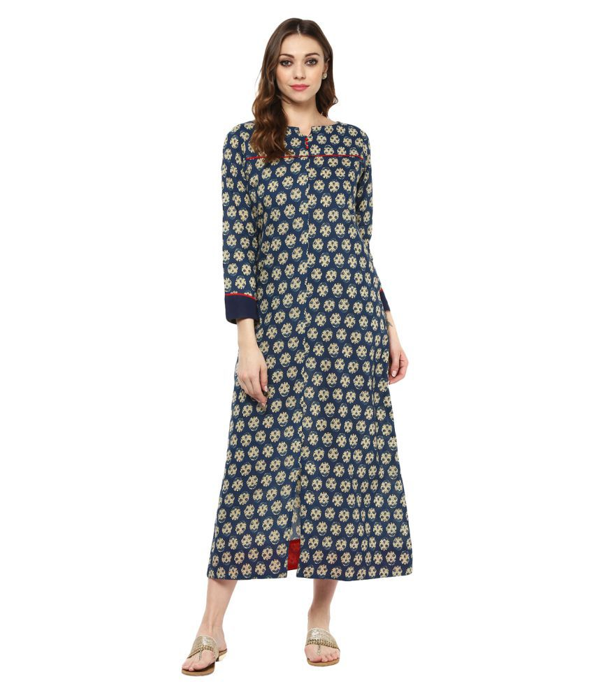 6f6a068f0 Jaipur Kurti Cotton Blue A- line Dress - Buy Jaipur Kurti Cotton Blue A-  line Dress Online at Best Prices in India on Snapdeal