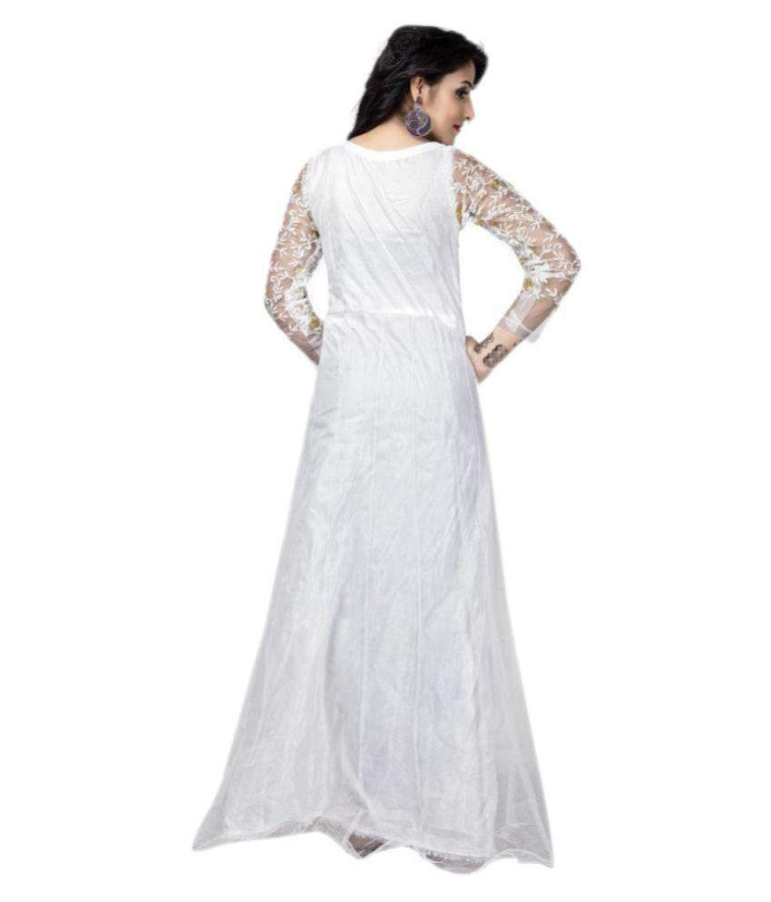 216f7204b Lilaba Fashion White Net Anarkali Gown Semi-Stitched Suit - Buy ...