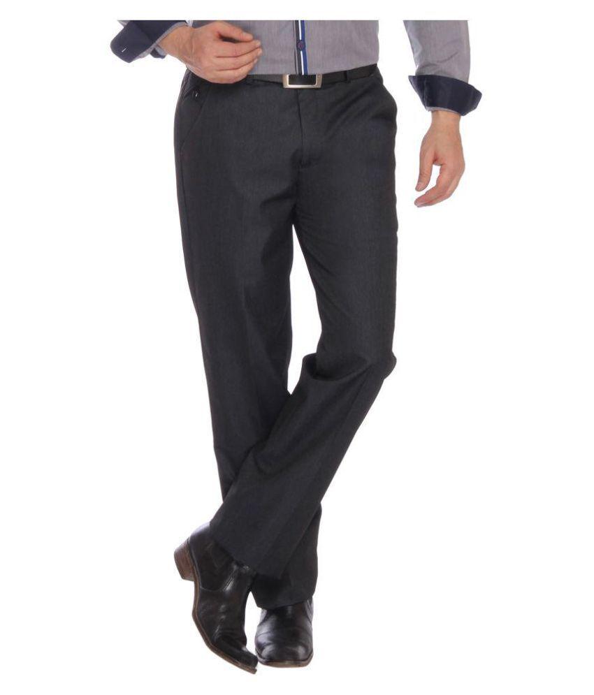 Studio Nyx Grey Regular Flat Trousers