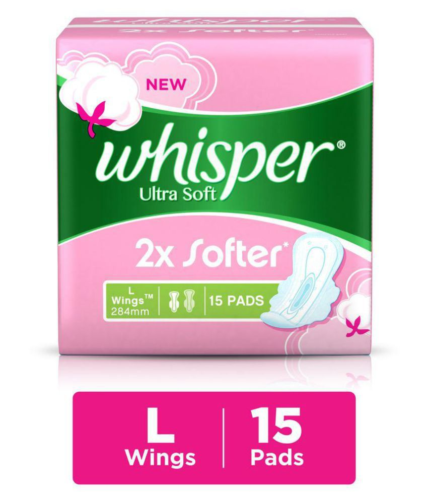 Whisper Ultra Soft Large Sanitary Pads 284mm, 15 count