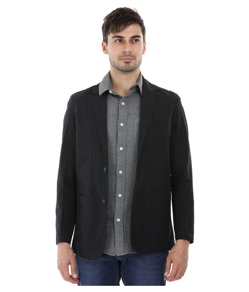 Zobello Black Striped Casual Blazers