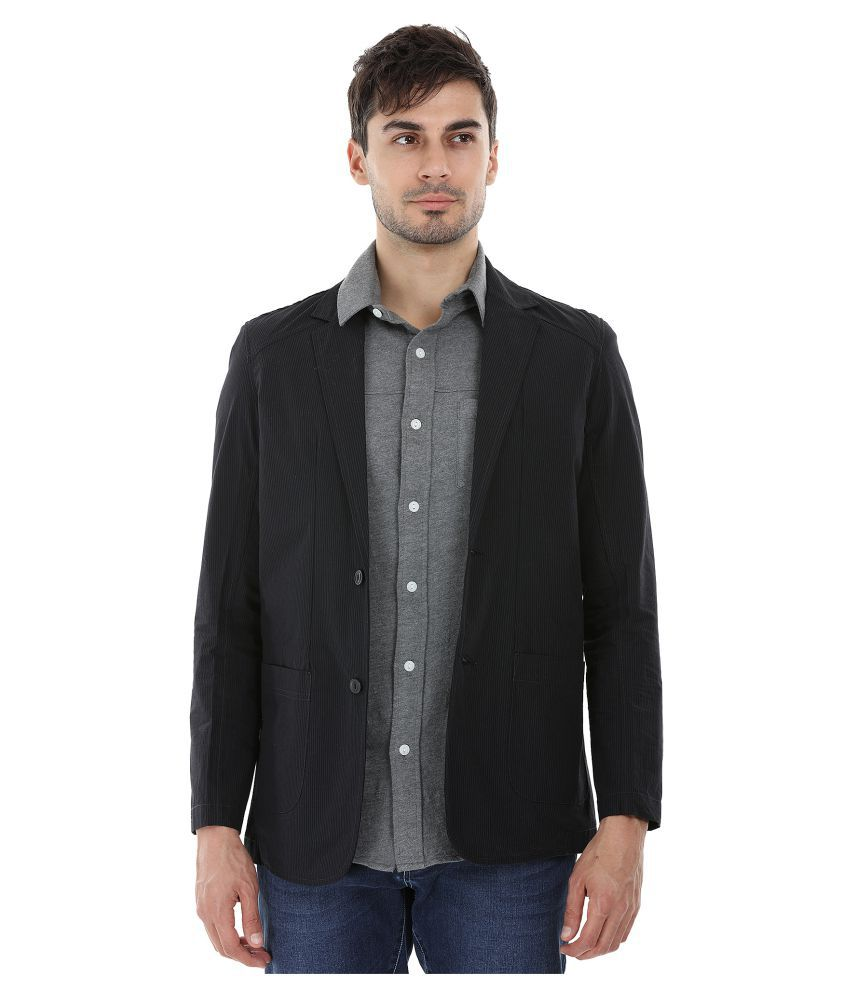 Zobello Black Striped Casual Blazers