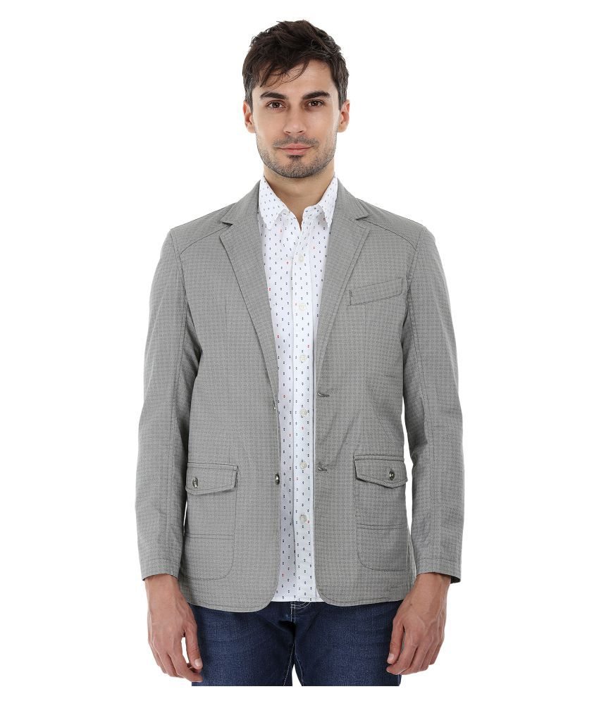 Zobello Grey Printed Casual Blazers