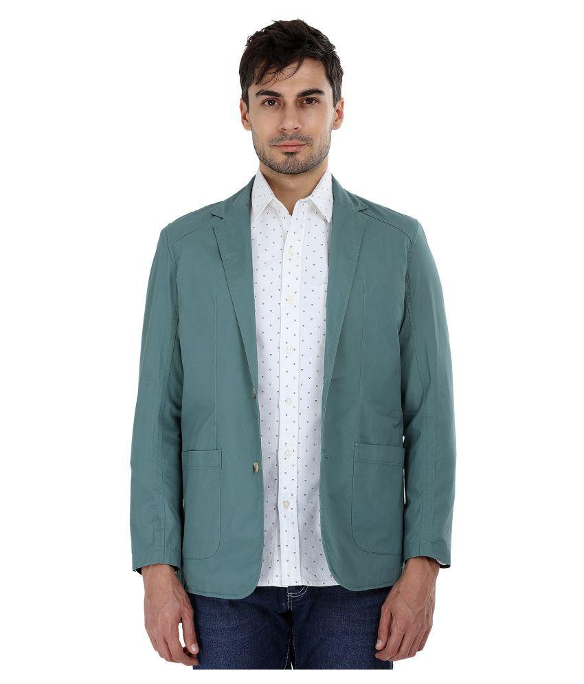 Zobello Green Solid Casual Blazers