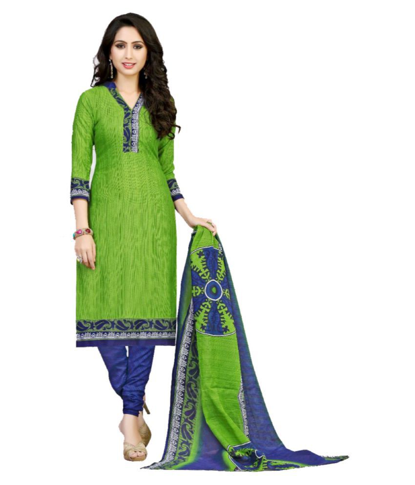 DAX Collections Green Cotton Dress Material