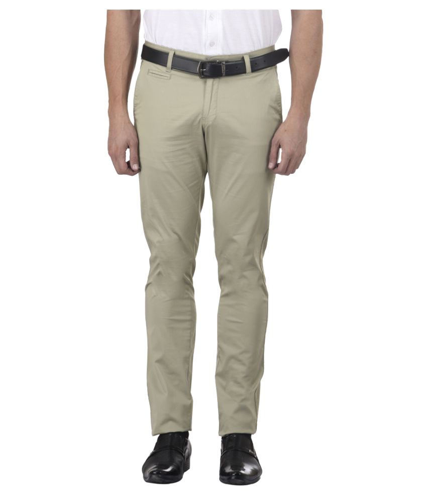 MSG Beige Slim Flat Trousers