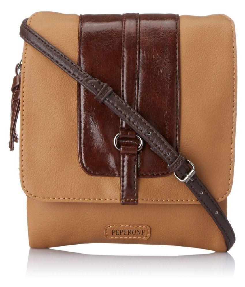 Peperone Beige Faux Leather Shoulder Bag