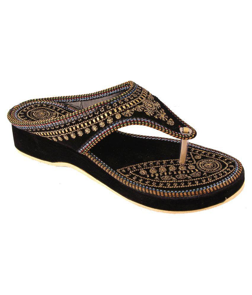 Babesa Multi Color Flat Ethnic Footwear