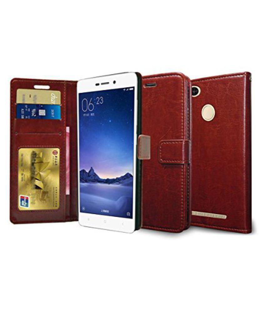 Febelo PU Leather Magnetic Lock Wallet flip cover Case for Xiaomi Redmi 3S / Xiaomi Redmi 3S Prime, Brown