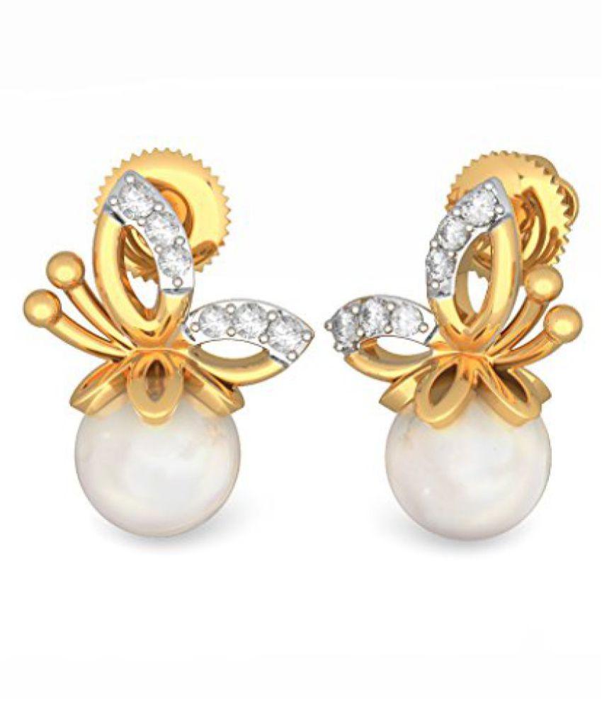 a37946415 BlueStone Poornima Collection Yellow Gold and Diamond Gavadani Earrings - Buy  BlueStone Poornima Collection Yellow Gold and Diamond Gavadani Earrings  Online ...