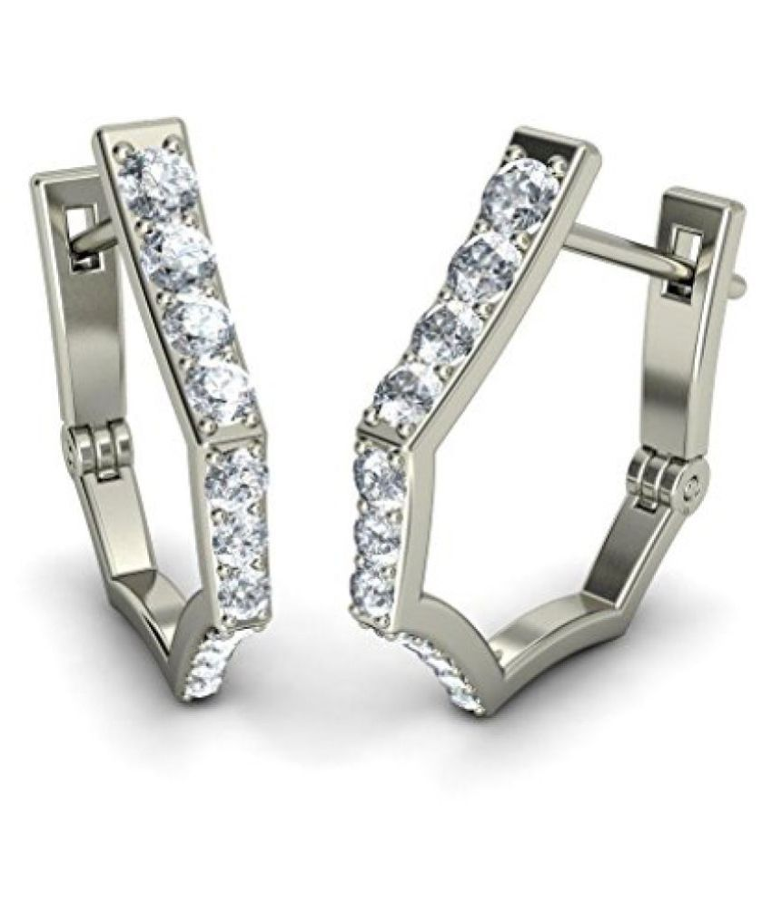 Bluestone White Gold and Diamond Hoop Earrings