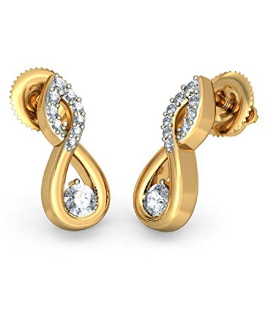 Bluestone Yellow Gold and Diamond Stud Earrings