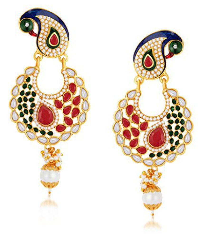 Sukkhi Elegant Peacock Gold Plated Australian Diamond Dangle & Drop Earrings for Women
