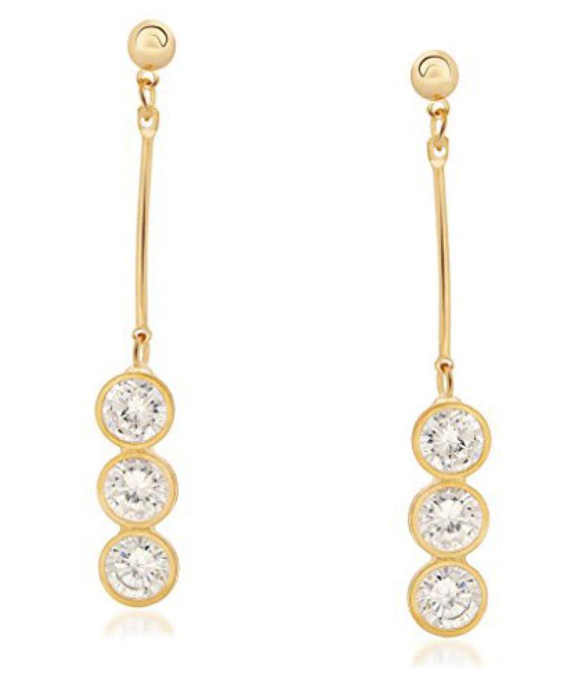 VK Jewels Three Stones Gold Plated Alloy Dangle Earring set for Women & Girls- ERZ1249G [VKERZ1249G]