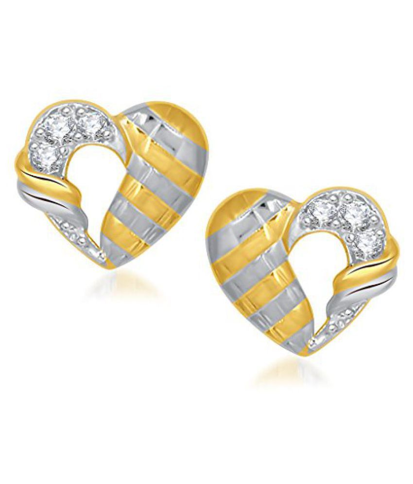 VK Jewels Vintage Heart Gold and Rhodium Plated Earrings made with Cubic Zirconia - ER1273G [VKER1273G]
