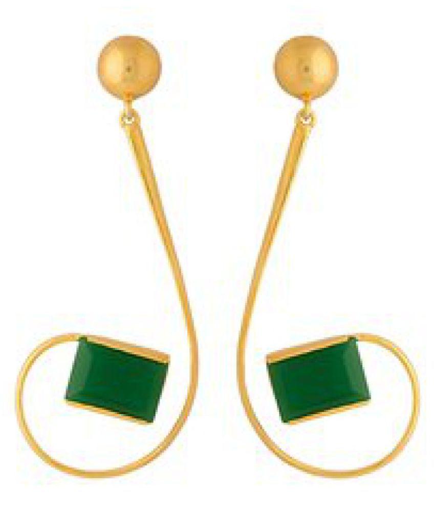 Voylla Dark Green Onyx Studded Dangler Earrings