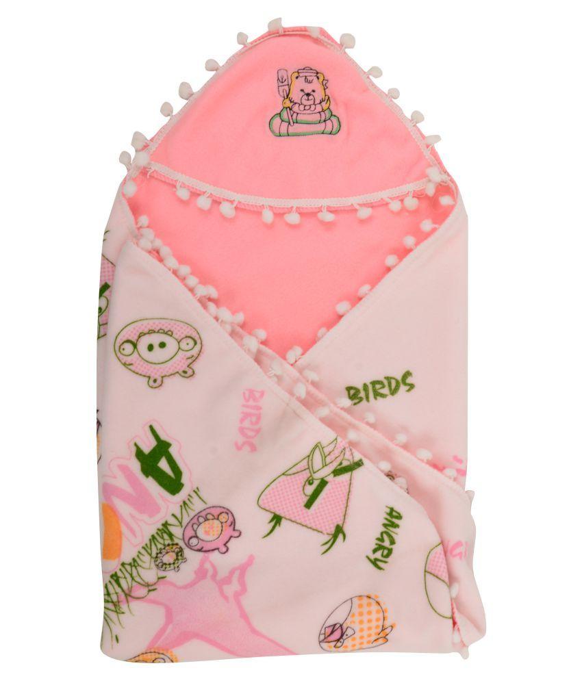 Joy Mart Pink Cotton Baby Wrap cum blanket ( 90 cm × 40 cm - 1 pcs)