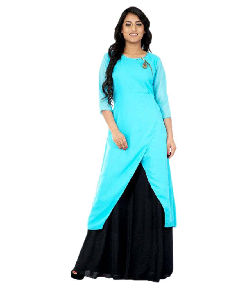 affbe66fe9 Niharika Pandey Turquoise Georgette Asymmetrical Hemline Kurti - Buy  Niharika Pandey Turquoise Georgette Asymmetrical Hemline Kurti Online at Best  Prices in ...