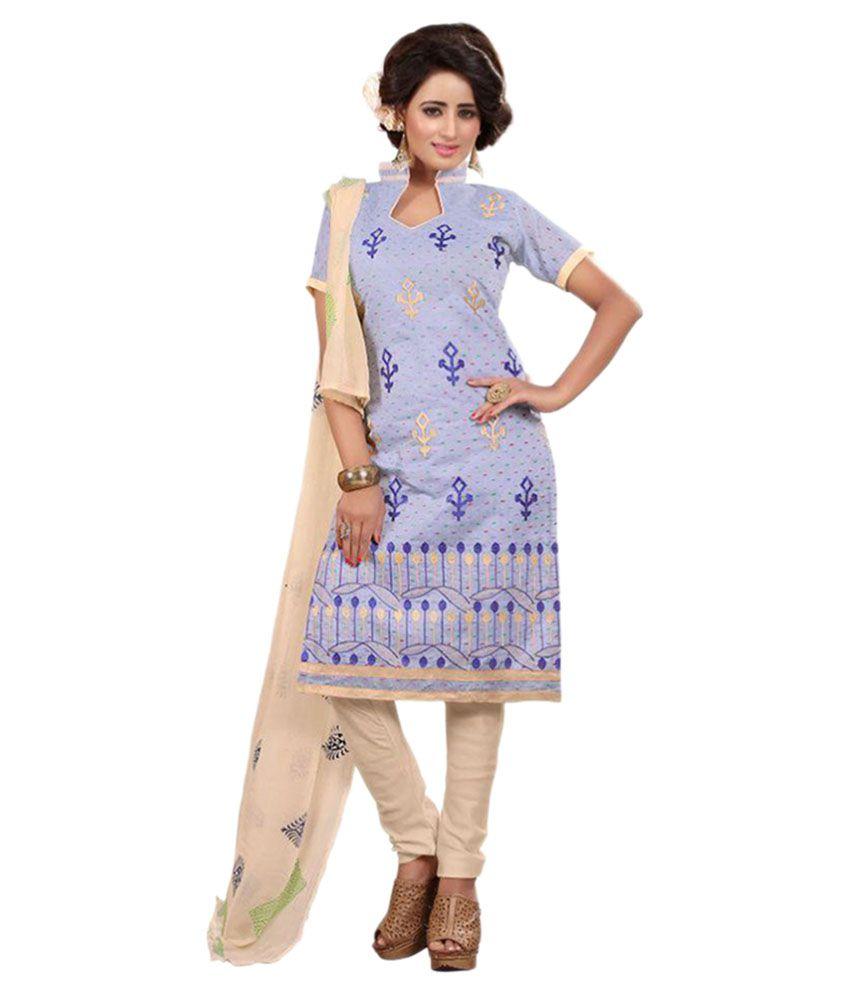 Rajnandini Purple Cotton Dress Material