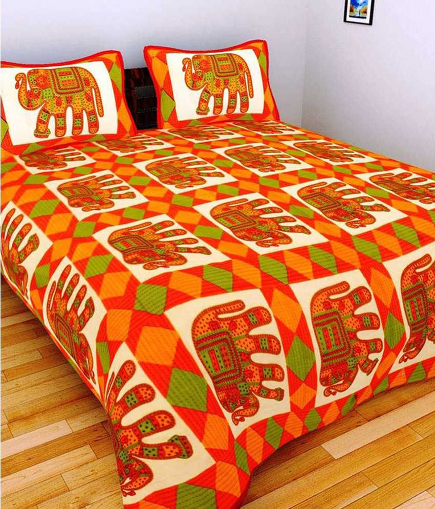 UniqChoice Double Cotton Multicolor Traditional Bed Sheet