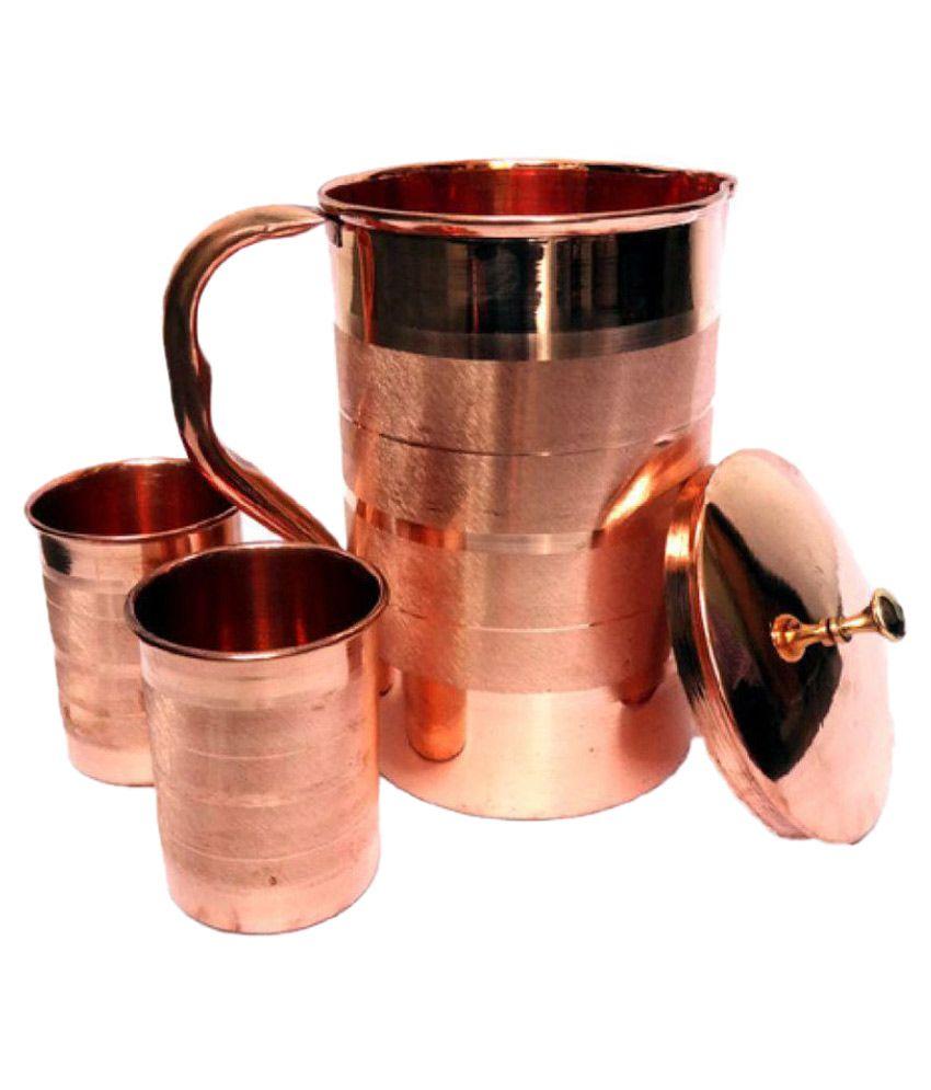 F & S Creations Pure Copper Luxury Jug & Glass Set Copper Jugs 1750 ml