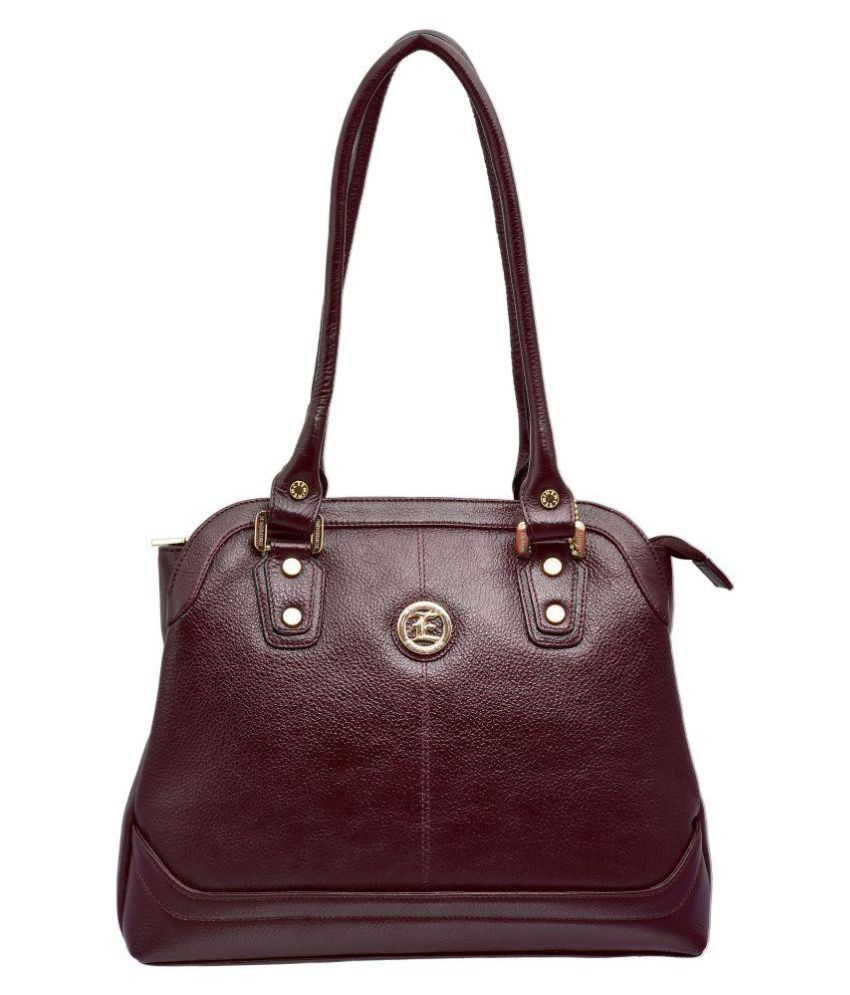 JFL - Jewellery For Less Brown Pure Leather Shoulder Bag