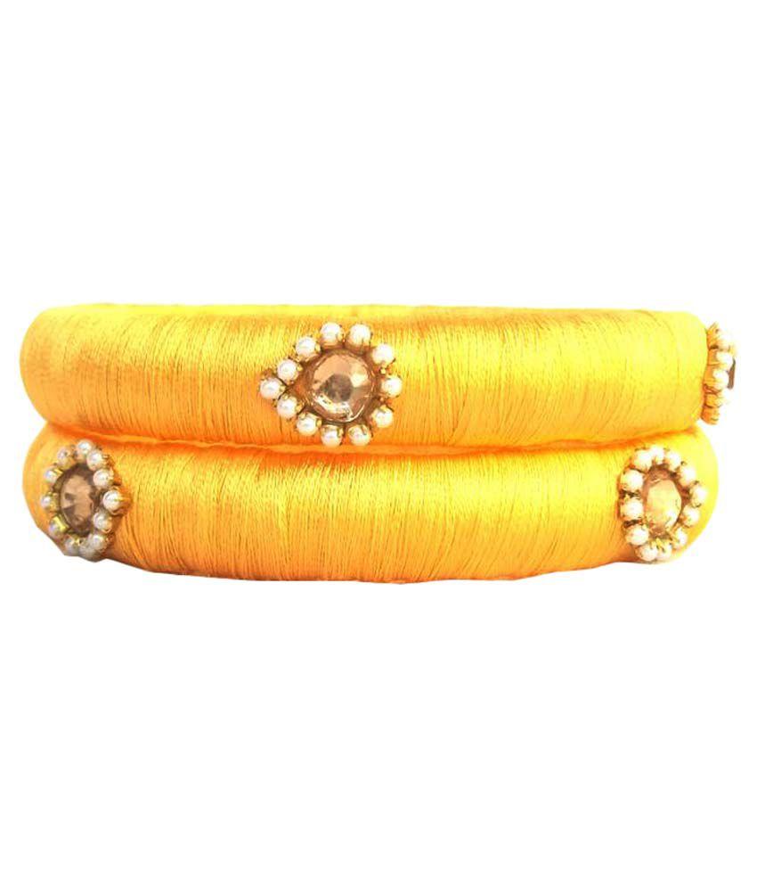 Trendytrendy Silk Thread Bangles - Yellow