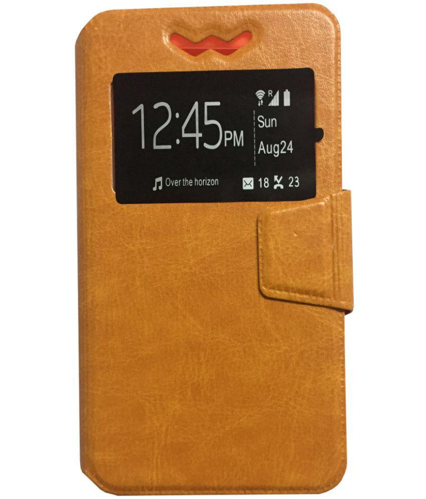 Intex Aqua M5 Flip Cover by Lomoza - Orange