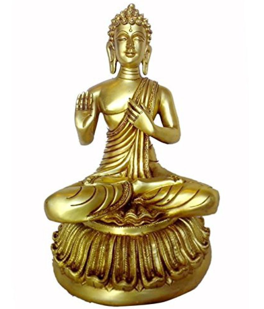 Lovely Statue of Lord Buddha with Fine Carving Work in Brass Metal by Bharat Haat  BH00082