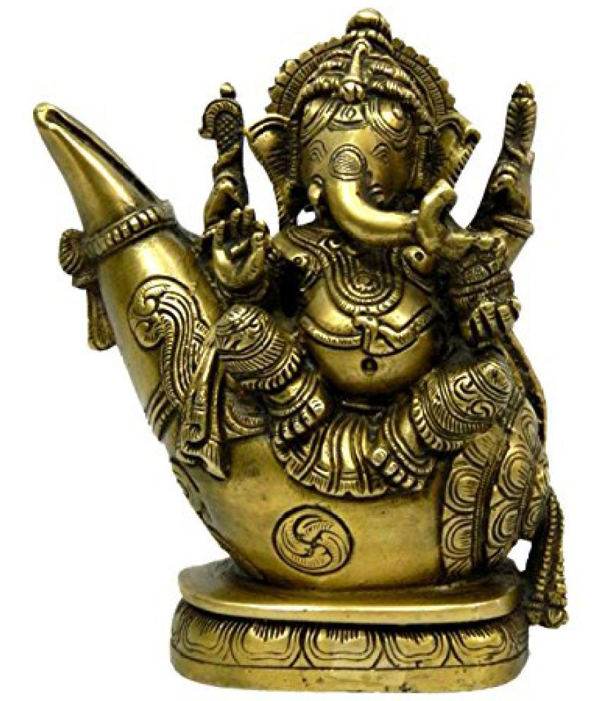 Pure Brass Metal Ganesh Sitting On Shankh Statue in Fine Finishing and Decorative art by Bharat Haat  BH03891