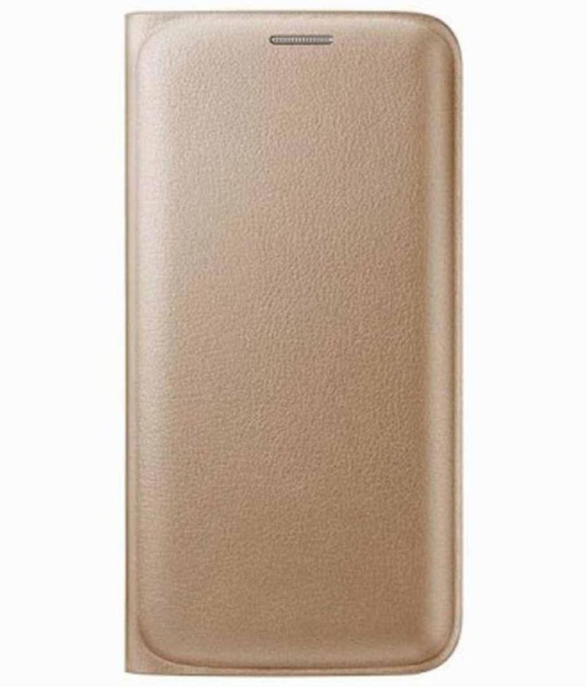 Lenovo A6000 Flip Cover by MV - Golden