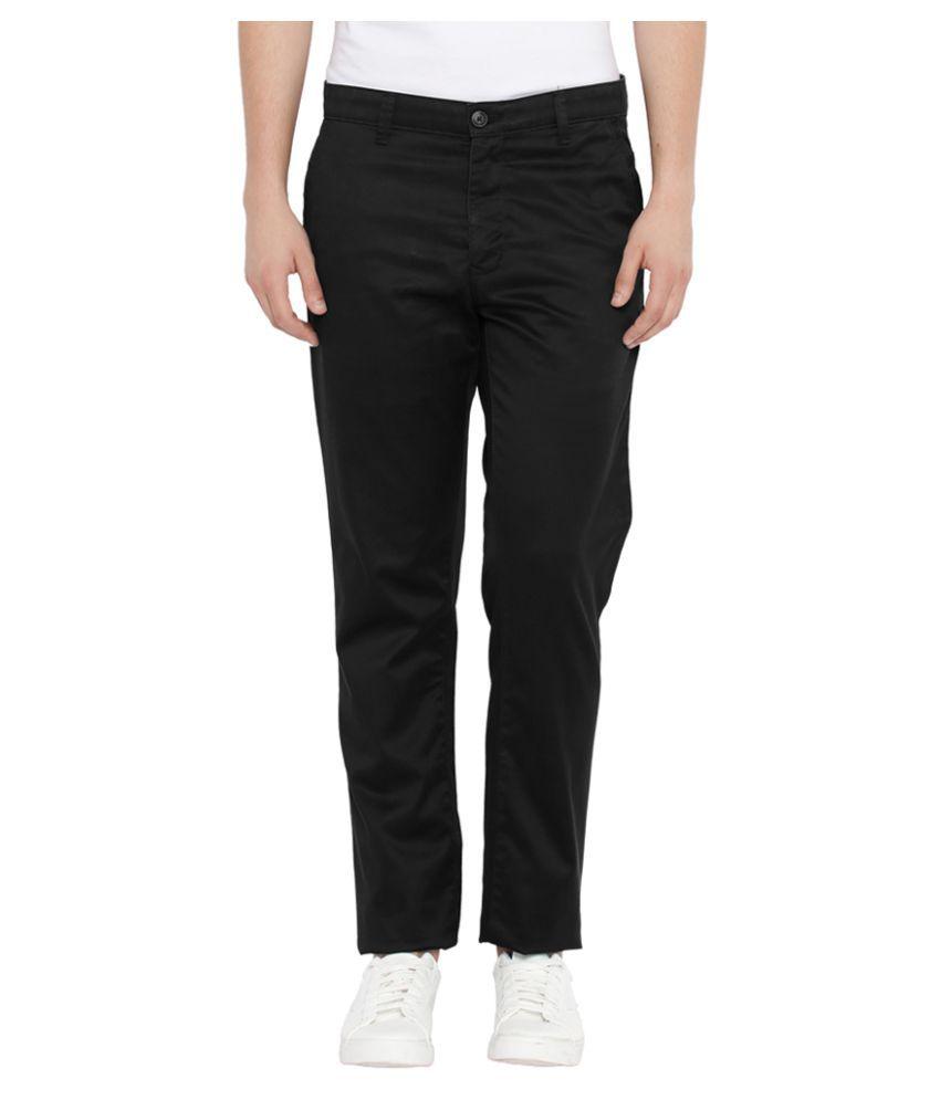 Parx Black Slim Flat Trousers