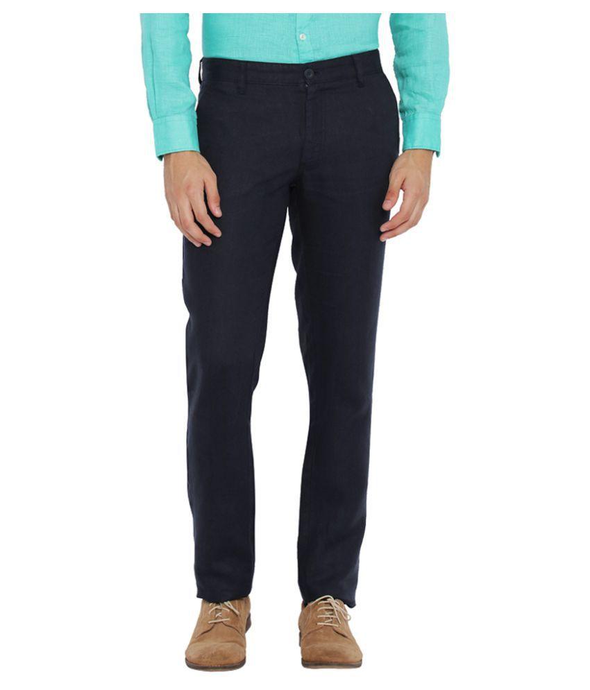 Parx Blue Slim Flat Trousers